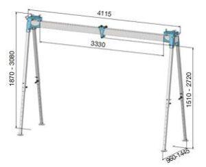 Werkplaatsportaal aluminium, vaste uitvoering paint